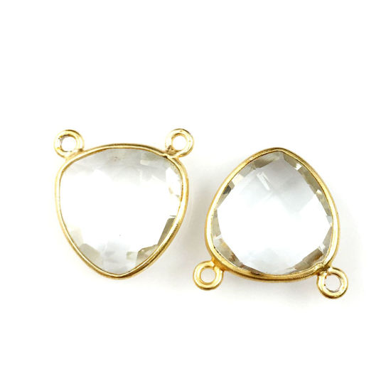 Wholesale Gold plated Sterling Silver Crystal Quartz Small Trillion Shaped Bezel Gemstone Connector Links, Wholesale Gemstone Charms and Pendants for Jewelry Making