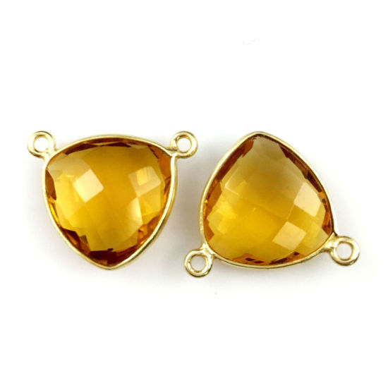 Wholesale Gold plated Sterling Silver Citrine Quartz Small Trillion Shaped Bezel Gemstone Connector Links, Wholesale Gemstone Charms and Pendants for Jewelry Making