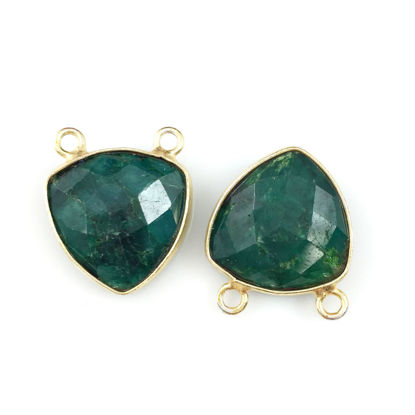 Wholesale Bezel Gemstone Connector Pendant - Emerald Dyed - Gold Vermeil - Small Trillion Shaped Faceted - 15 mm - 1 piece