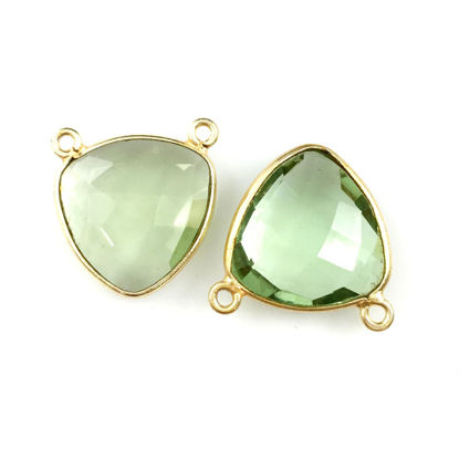 Wholesale Bezel Gemstone Connector Pendant - Green Amethyst Quartz - Gold Vermeil - Small Trillion Shaped Faceted - 15 mm - 1 piece