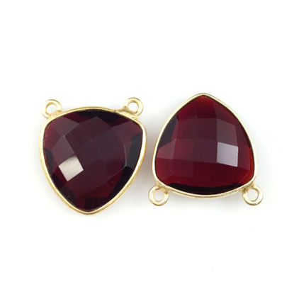 Wholesale Bezel Gemstone Connector Pendant - Garnet Quartz - Gold Vermeil - Small Trillion Shaped Faceted - 15 mm - 1 piece