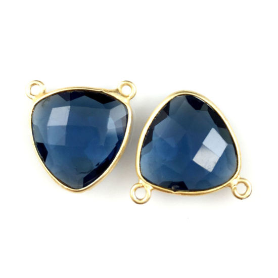 Wholesale Gold plated Sterling Silver Iolite Quartz Small Trillion Shaped Bezel Gemstone Connector Links, Wholesale Gemstone Charms and Pendants for Jewelry Making