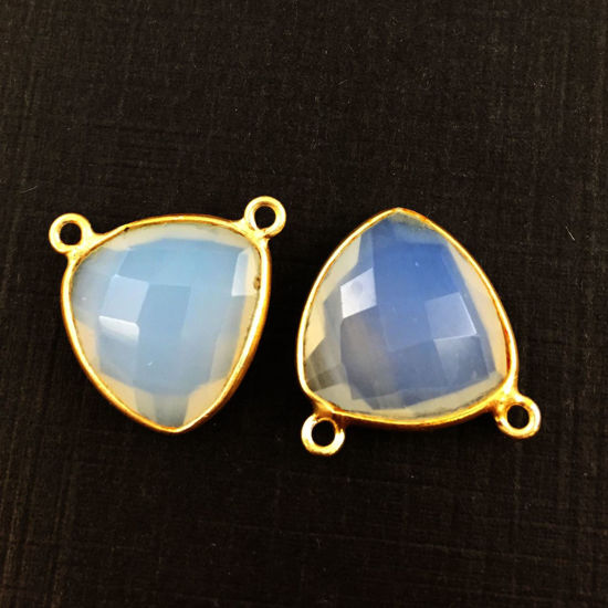 Wholesale Gold plated Sterling Silver Opalite Quartz Small Trillion Shaped Bezel Gemstone Connector Links, Wholesale Gemstone Charms and Pendants for Jewelry Making
