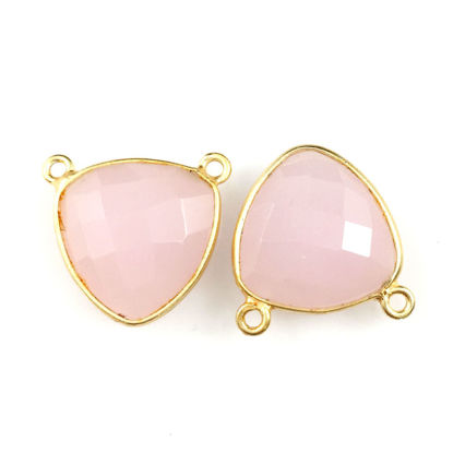 Wholesale Gold plated Sterling Silver Pink Chalcedony Small Trillion Shaped Bezel Gemstone Connector Links, Wholesale Gemstone Charms and Pendants for Jewelry Making