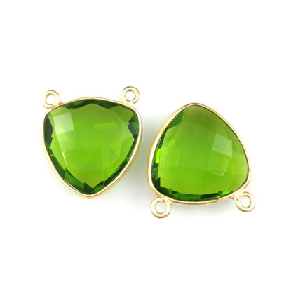 Wholesale Gold plated Sterling Silver Peridot Quartz Small Trillion Shaped Bezel Gemstone Connector Links, Wholesale Gemstone Charms and Pendants for Jewelry Making