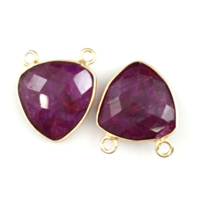 Wholesale Gold plated Sterling Silver Ruby Dyed Small Trillion Shaped Bezel Gemstone Connector Links, Wholesale Gemstone Charms and Pendants for Jewelry Making