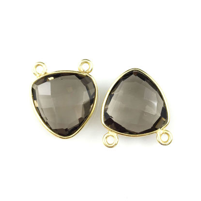 Wholesale Gold plated Sterling Silver Smokey Quartz Small Trillion Shaped Bezel Gemstone Connector Links, Wholesale Gemstone Charms and Pendants for Jewelry Making