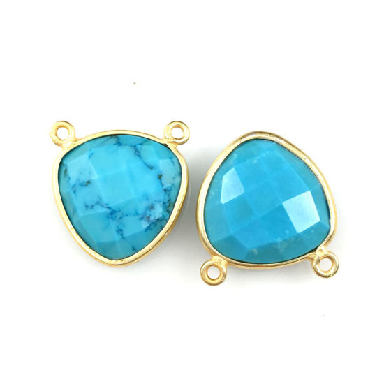 Wholesale Gold plated Sterling Silver Turquoise Small Trillion Shaped Bezel Gemstone Connector Links, Wholesale Gemstone Charms and Pendants for Jewelry Making
