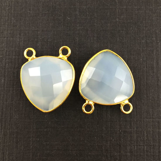 Wholesale Gold plated Sterling Silver White Chalcedony Small Trillion Shaped Bezel Gemstone Connector Links, Wholesale Gemstone Charms and Pendants for Jewelry Making