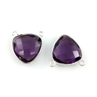 Wholesale Bezel Gemstone Connector Pendant - Amethyst Quartz - Sterling Silver - Small Trillion Shaped Faceted - 15 mm - 1 piece