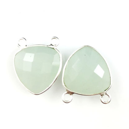 Wholesale Bezel Gemstone Connector Pendant - Aqua Chalcedony - Sterling Silver - Small Trillion Shaped Faceted - 15 mm - 1 piece