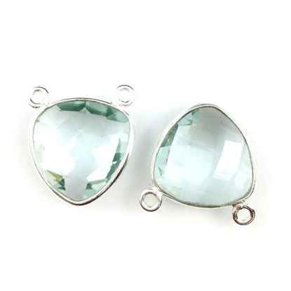 Wholesale Bezel Gemstone Connector Pendant - Aqua Quartz - Sterling Silver - Small Trillion Shaped Faceted - 15 mm - 1 piece