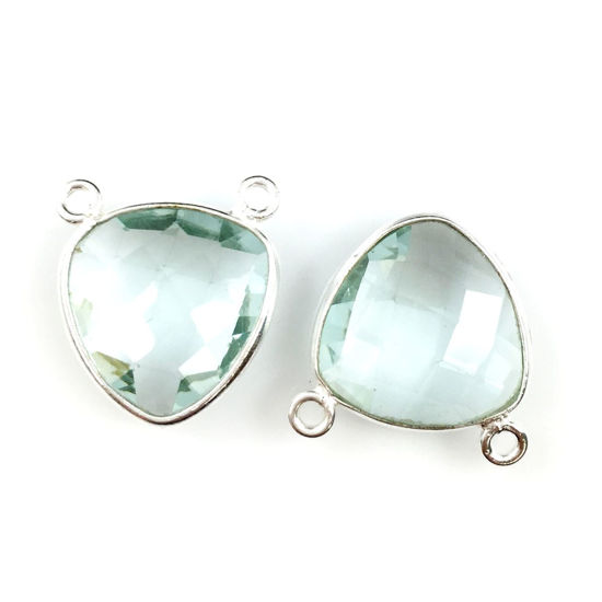Wholesale Sterling Silver Aqua Quartz Small Trillion Shaped Bezel Gemstone Connector Links, Wholesale Gemstone Charms and Pendants for Jewelry Making