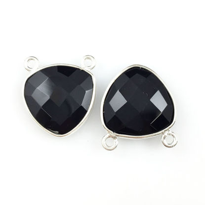 Wholesale Bezel Gemstone Connector Pendant - Black Onyx - Sterling Silver - Small Trillion Shaped Faceted - 15 mm - 1 piece