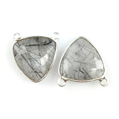 Wholesale Sterling Silver Black Rutilated Quartz Small Trillion Shaped Bezel Gemstone Connector Links, Wholesale Gemstone Charms and Pendants for Jewelry Making