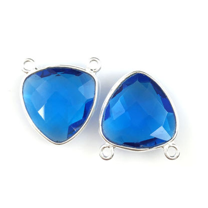 Wholesale Sterling Silver Blue Quartz Small Trillion Shaped Bezel Gemstone Connector Links, Wholesale Gemstone Charms and Pendants for Jewelry Making