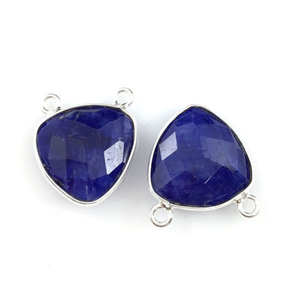 Wholesale Bezel Gemstone Connector Pendant - Blue Sapphire Dyed - Sterling Silver - Small Trillion Shaped Faceted - 15 mm - 1 piece