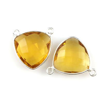 Wholesale Sterling Silver Citrine Quartz Small Trillion Shaped Bezel Gemstone Connector Links, Wholesale Gemstone Charms and Pendants for Jewelry Making