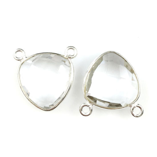 Wholesale Sterling Silver Crystal Quartz Small Trillion Shaped Bezel Gemstone Connector Links, Wholesale Gemstone Charms and Pendants for Jewelry Making