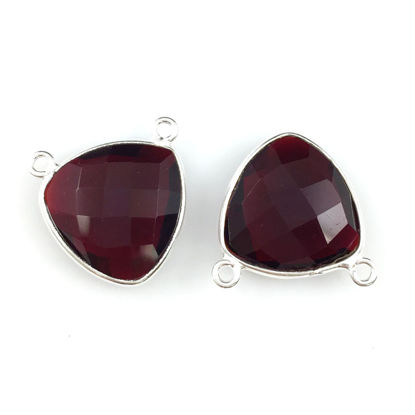 Wholesale Bezel Gemstone Connector Pendant - Garnet Quartz - Sterling Silver - Small Trillion Shaped Faceted - 15 mm - 1 piece