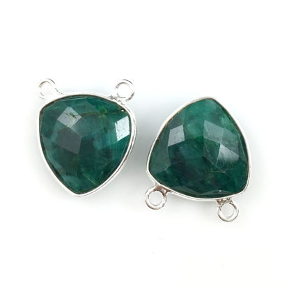 Wholesale Bezel Gemstone Connector Pendant - Emerald Dyed - Sterling Silver - Small Trillion Shaped Faceted - 15 mm - 1 piece