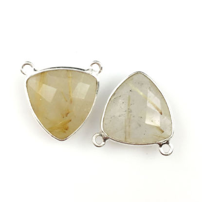 Wholesale Bezel Gemstone Connector Pendant - Gold Rutilated Quartz- Sterling Silver - Small Trillion Shaped Faceted - 15 mm - 1 piece