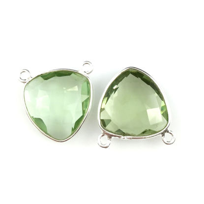 Wholesale Sterling Silver Green Amethyst Quartz Small Trillion Shaped Bezel Gemstone Connector Links, Wholesale Gemstone Charms and Pendants for Jewelry Making