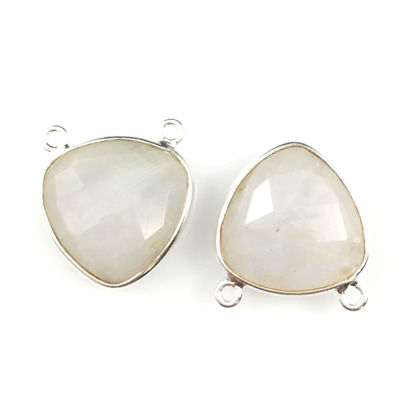 Wholesale Sterling Silver Moonstone Small Trillion Shaped Bezel Gemstone Connector Links, Wholesale Gemstone Charms and Pendants for Jewelry Making