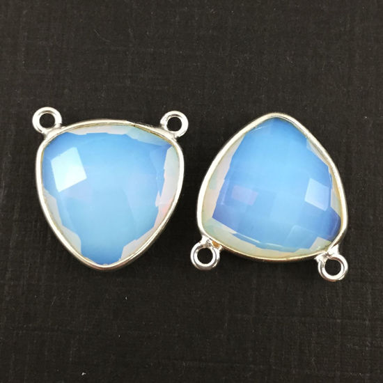 Wholesale Sterling Silver Opalite Quartz Small Trillion Shaped Bezel Gemstone Connector Links, Wholesale Gemstone Charms and Pendants for Jewelry Making