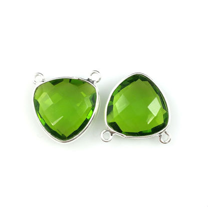 Wholesale Sterling Silver Peridot Quartz Small Trillion Shaped Bezel Gemstone Connector Links, Wholesale Gemstone Charms and Pendants for Jewelry Making