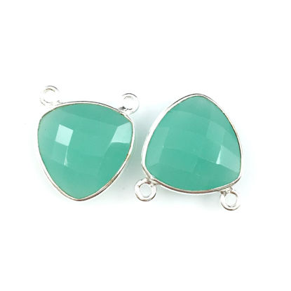 Wholesale Sterling Silver Peru Chalcedony Small Trillion Shaped Bezel Gemstone Connector Links, Wholesale Gemstone Charms and Pendants for Jewelry Making