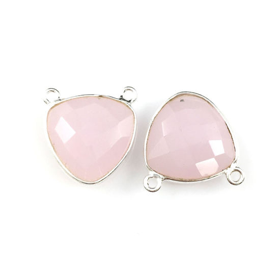 Wholesale Sterling Silver Pink Chalcedony Small Trillion Shaped Bezel Gemstone Connector Links, Wholesale Gemstone Charms and Pendants for Jewelry Making