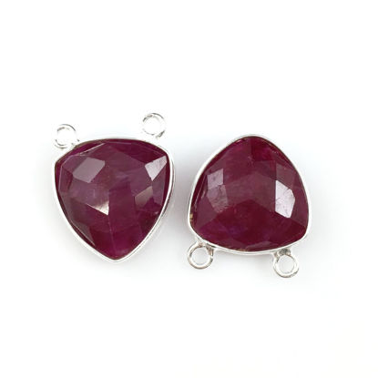 Wholesale Sterling Silver Ruby Dyed Small Trillion Shaped Bezel Gemstone Connector Links, Wholesale Gemstone Charms and Pendants for Jewelry Making