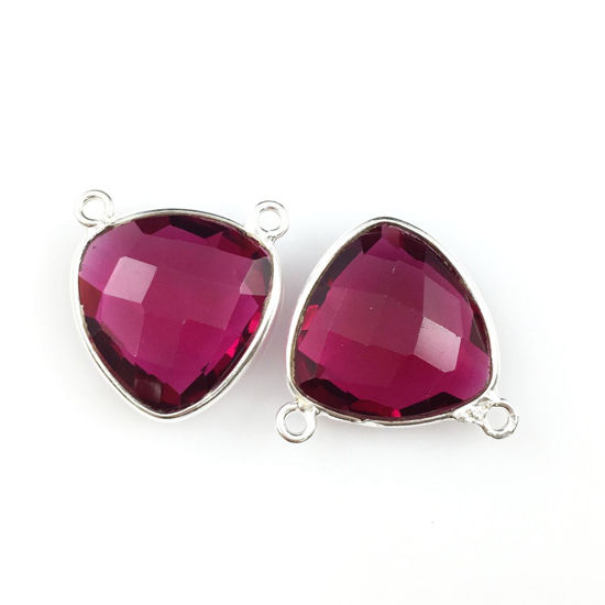 Wholesale Sterling Silver Rubylite Quartz Small Trillion Shaped Bezel Gemstone Connector Links, Wholesale Gemstone Charms and Pendants for Jewelry Making