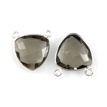 Wholesale Sterling Silver Smokey Quartz Small Trillion Shaped Bezel Gemstone Connector Links, Wholesale Gemstone Charms and Pendants for Jewelry Making