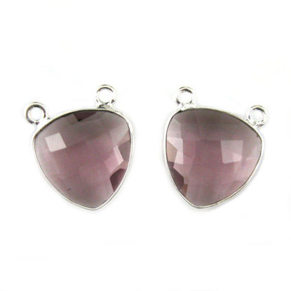 Wholesale Sterling Silver Pink Amethyst Quartz Small Trillion Shaped Bezel Gemstone Connector Links, Wholesale Gemstone Charms and Pendants for Jewelry Making