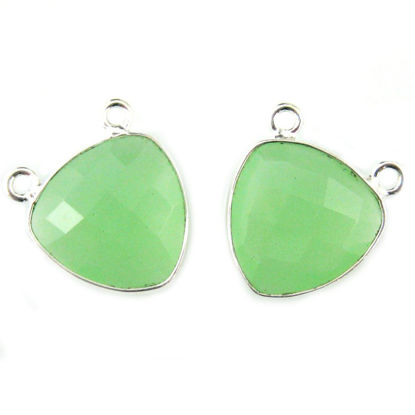 Wholesale Sterling Silver Prehnite Chalcedony Small Trillion Shaped Bezel Gemstone Connector Links, Wholesale Gemstone Charms and Pendants for Jewelry Making