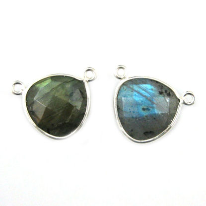 Wholesale Sterling Silver Labradorite Small Trillion Shaped Bezel Gemstone Connector Links, Wholesale Gemstone Charms and Pendants for Jewelry Making
