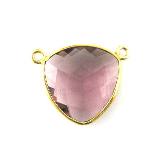 Wholesale Gold plated Sterling Silver Pink Amethyst Quartz Large Trillion Shaped Bezel Gemstone Connector Links, Wholesale Gemstone Charms and Pendants for Jewelry Making