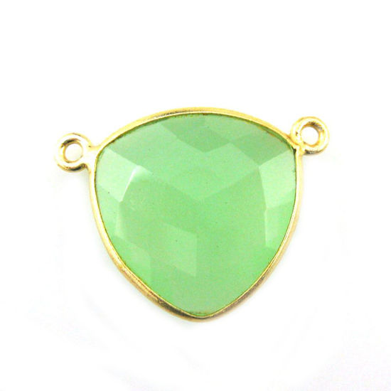 Wholesale Gold plated Sterling Silver Prehnite Chalcedony Large Trillion Shaped Bezel Gemstone Connector Links, Wholesale Gemstone Charms and Pendants for Jewelry Making