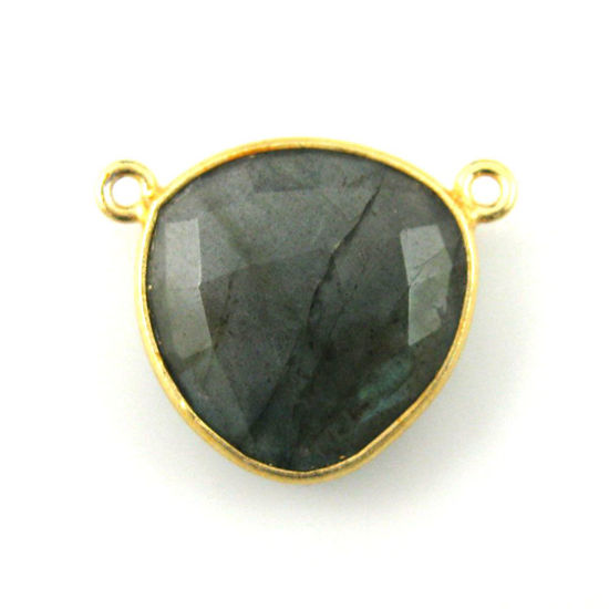 Wholesale Gold plated Sterling Silver Labradorite Large Trillion Shaped Bezel Gemstone Connector Links, Wholesale Gemstone Charms and Pendants for Jewelry Making