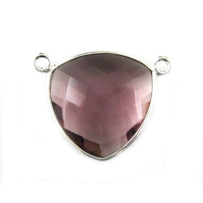 Wholesale Sterling Silver Pink Amethyst Quartz Large Trillion Shaped Bezel Gemstone Connector Links, Wholesale Gemstone Charms and Pendants for Jewelry Making