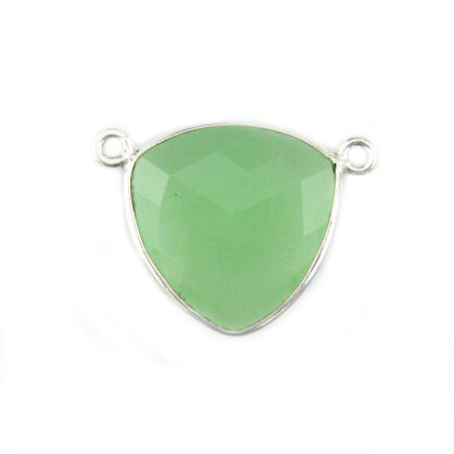 Wholesale Sterling Silver Prehnite Chalcedony Large Trillion Shaped Bezel Gemstone Connector Links, Wholesale Gemstone Charms and Pendants for Jewelry Making