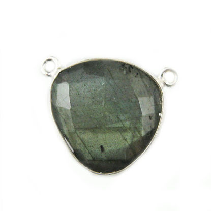 Wholesale Sterling Silver Labradorite Large Trillion Shaped Bezel Gemstone Connector Links, Wholesale Gemstone Charms and Pendants for Jewelry Making