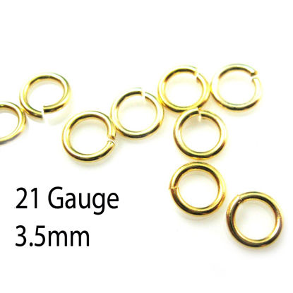 Wholesale Gold plated Sterling Silver 21 Gauge 3.5mm Open Jumprings for Jewelry Making, Wholesale Findings