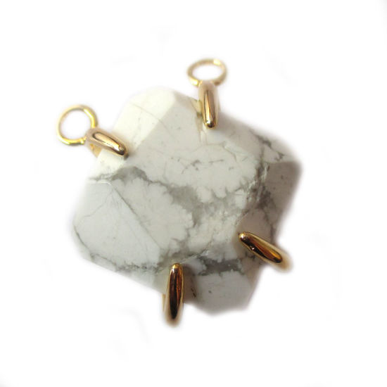 Wholesale Faceted Octagon Gemstone Connector Pendant - White Howlite - Large Stone Prong Setting - 20- 26mm