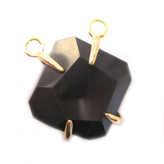 Wholesale Faceted Octagon Gemstone Connector Pendant - Black Agate - Large Stone Prong Setting - 20- 26mm