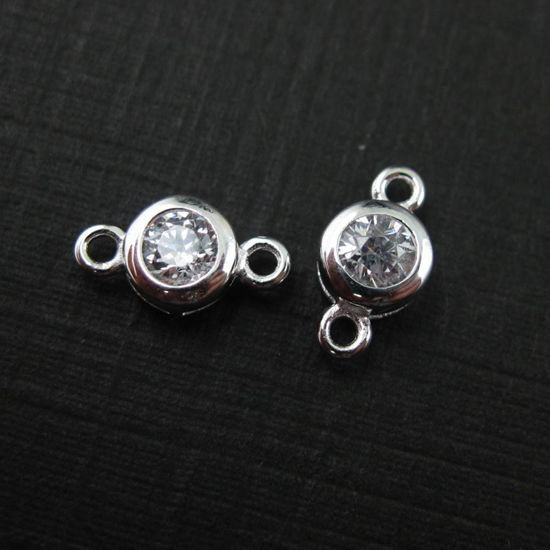 Wholesale Sterling Silver CZ Stone Tiny Round Connectors - 5mm (sold per piece)