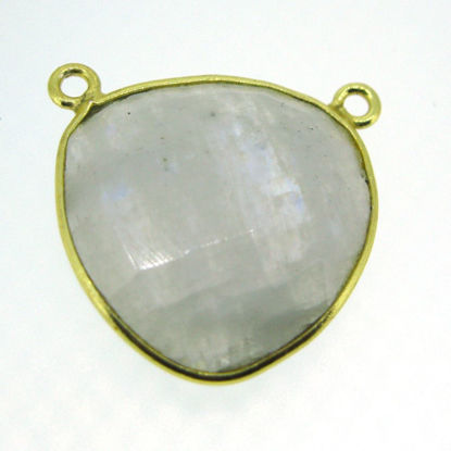 Wholesale Bezel Gemstone Connector Pendant - Moonstone - Gold Vermeil - Large Trillion Shaped Faceted - 18 Mm