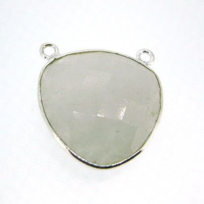 Wholesale Bezel Gemstone Connector Pendant - Moonstone - Sterling Silver - Large Trillion Shaped Faceted - 18 Mm